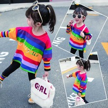 Children Girls New Autumn Fashion Casual Long Sleeve Colorful Striped Top Leggings Cotton Underwear Set 1-6Y Baby Girl Clothe недорого