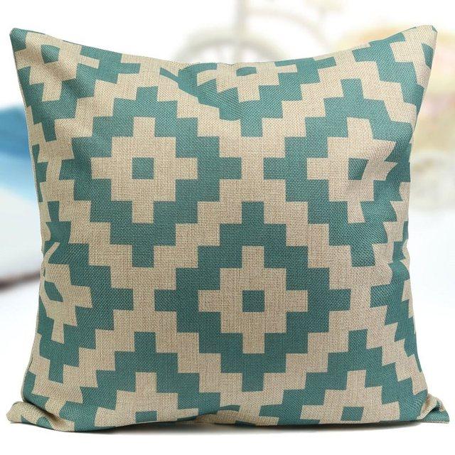 1Pcs 45cm*45cm Comfortable Back Throw Wedding Cushion Pillow Case Cover Blue Flower Shape Rhombus Cotton Linen Home