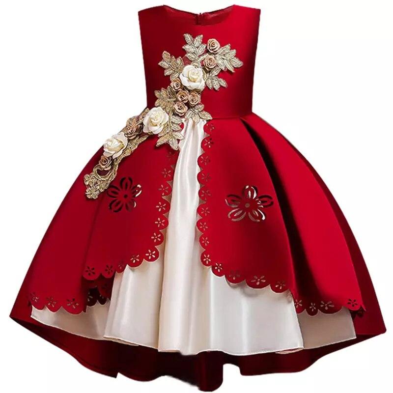 HTB18E7cXYr1gK0jSZFDq6z9yVXaz Kids Dresses For Girls Elegant Princess Dress Christmas Children Evening Party Dress Flower Girl Wedding Gown vestido infantil