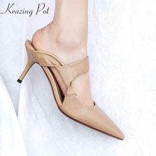Krazing pot cow leather mules high quality summer party pointed toe strange design stiletto thin high heels shallow pumps l22
