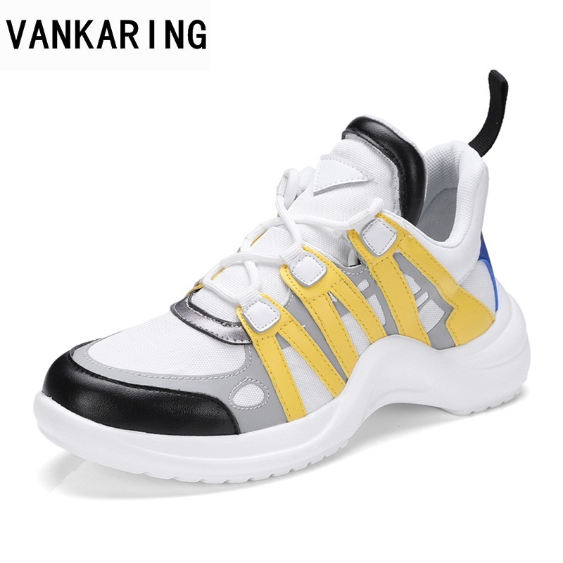 VANKARING hot sale 2018 new fashion high quality spring autumn women flats shoes black yellow woman lace up casual date shoes hot sale spring autumn handmade flats