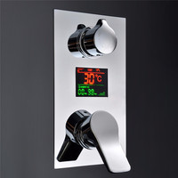 1 Pcs KCASA Temperture Digital Display Chrome Shower Faucet Water Powered No Need Battery Wall Mounted