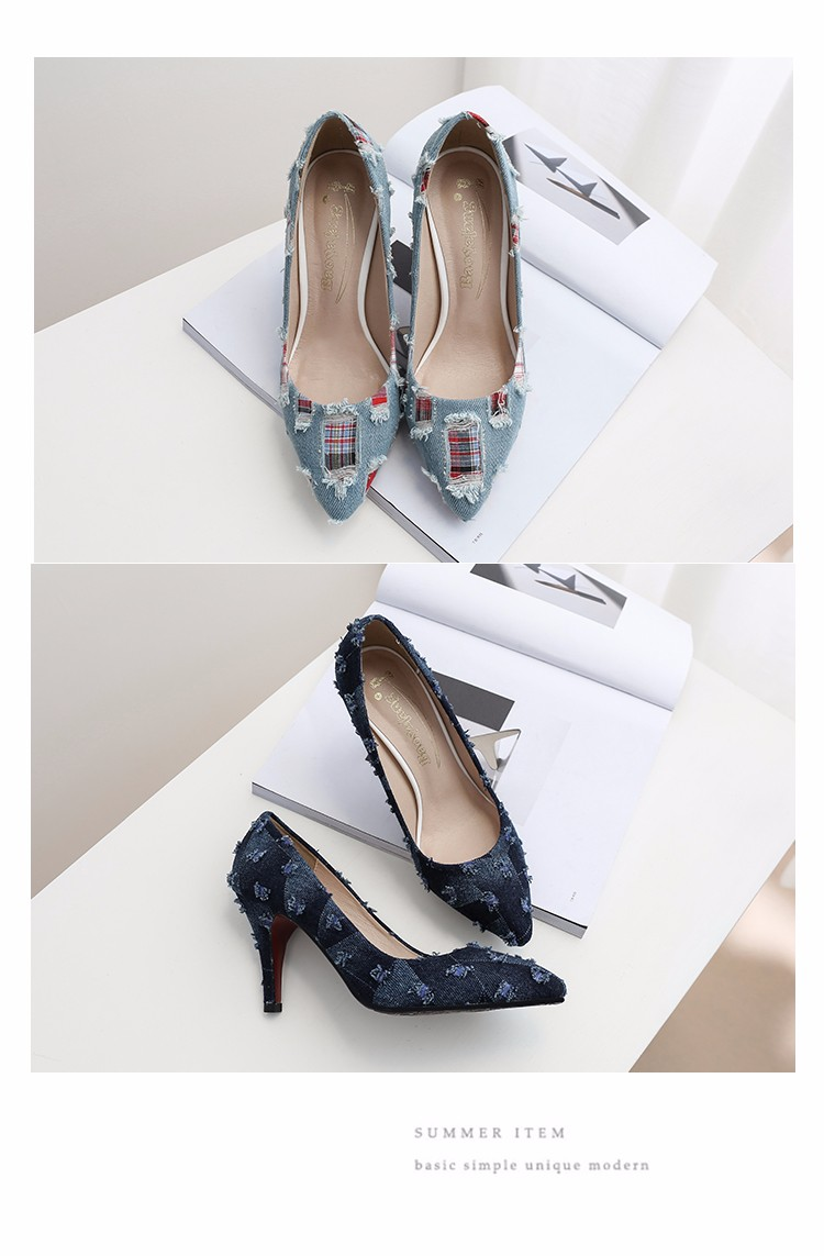 New arrival Denim Ladies Shoes pointed toe high heels Free Shipping! HTB18E7zSpXXXXXYaFXXq6xXFXXXL
