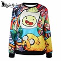 [You're My Secret] New Arrival Long Sleeveles Women Sweatshirt  Adventure Time Hoodies Digital Print Moleton  WYS1091