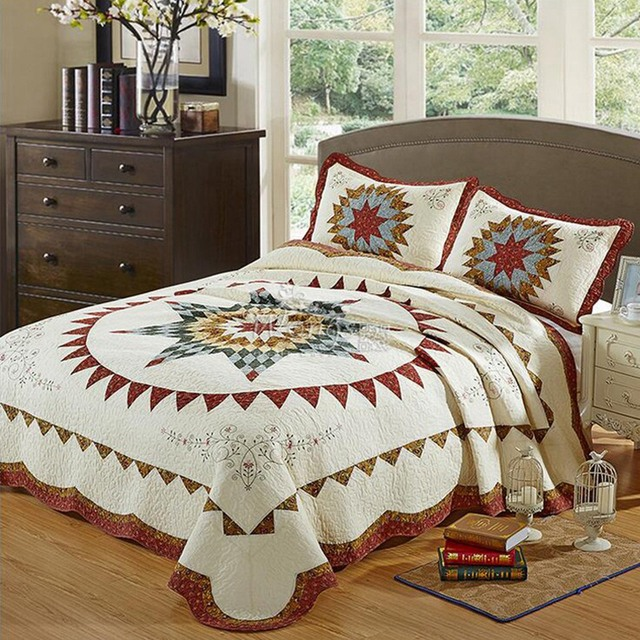 3pcs 100 Cotton Europe Type Style Quilted Bedspread Printed