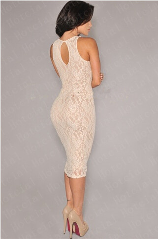 bb12ee35a55a 2014 New Fashion Women's Empire Vintage Crochet Lace Party Bodycon Pencil  Dress White Black Nude Illusion Sleeveless Midi Dress-in Dresses from  Women's ...