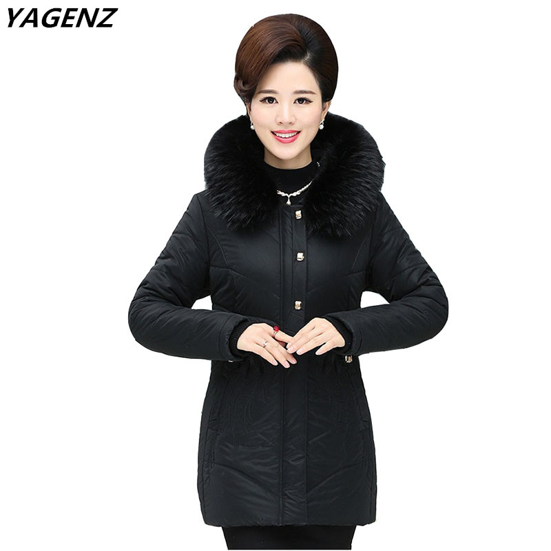 Mother Clothing Winter Warm Cotton Jacket Casual Tops Plus Size Hooded Fur Collar Women Coats Solid