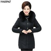 Мать clothing зима теплая куртка хлопка случайные топы плюс размер с капюшоном меховой воротник пальто женщин сплошной цвет верхняя одежда yagenz a568