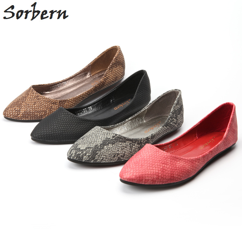 Sorbern 2018 Spring Flat Heels Shoes Ladies Causal Snake Pattern Pointed Flat Shoes Classic Fashion Shallow Flat Shoes CN 35-41