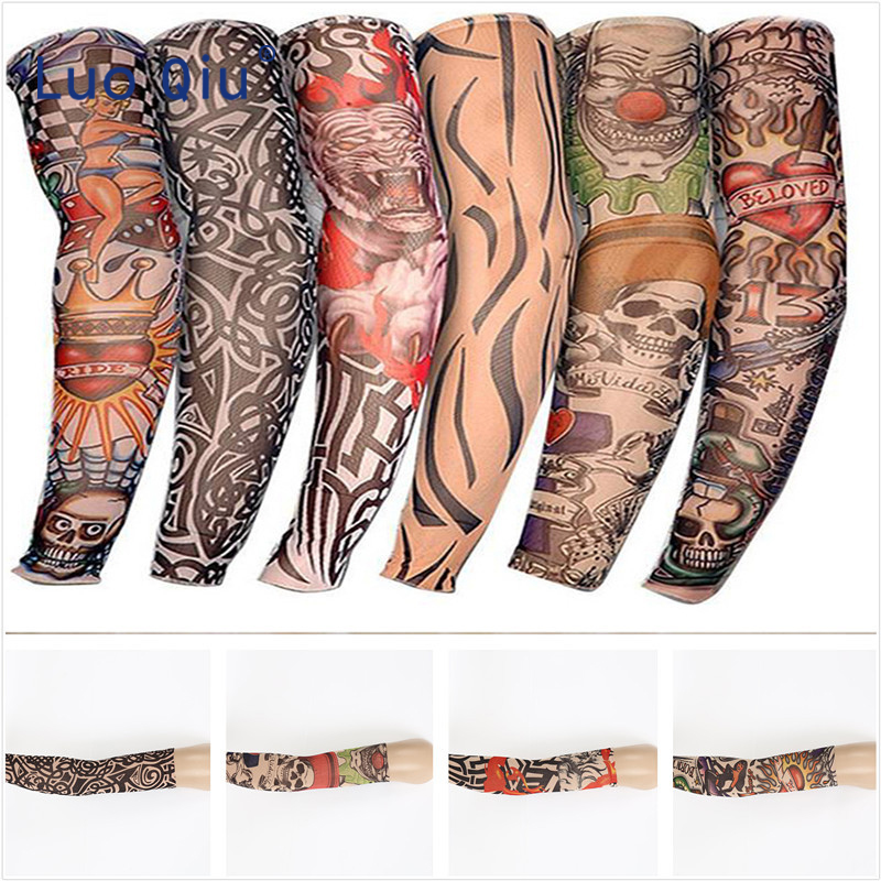 6pcs Unisex Women Men Fake Temporary Party Tattoo Slip On Sleeves Body Art Arm Covers Stockings