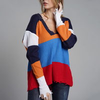 Women Fringe V Neck Women Sweaters And Pullovers Rainbow Striped Jumper Knitwear Fashion Multi Color Sweater Ladies Winter