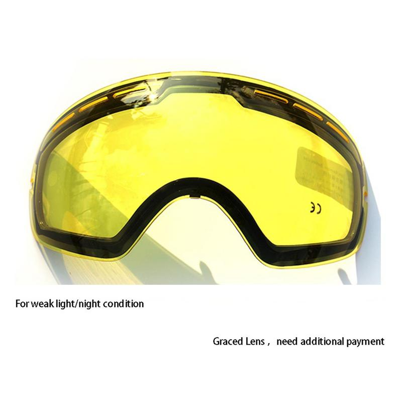 GOG-201 Lens Yellow Graced Magnetic Lens For Ski Goggles Anti-fog UV400 Spherical Ski Glasses Night Skiing Lens