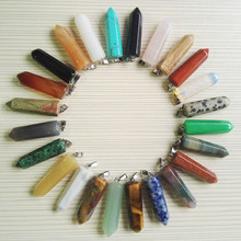 Wholesale 24pcs lot natural stone Pendants necklaces for Jewelry making mixed fashion stone charm Point pendant