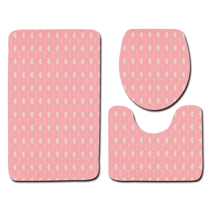 3pcs Mat for Toilet Microfiber Bath Mat Pink Bottom White Love Geometric Pattern Non Slip Mat for Bathroom
