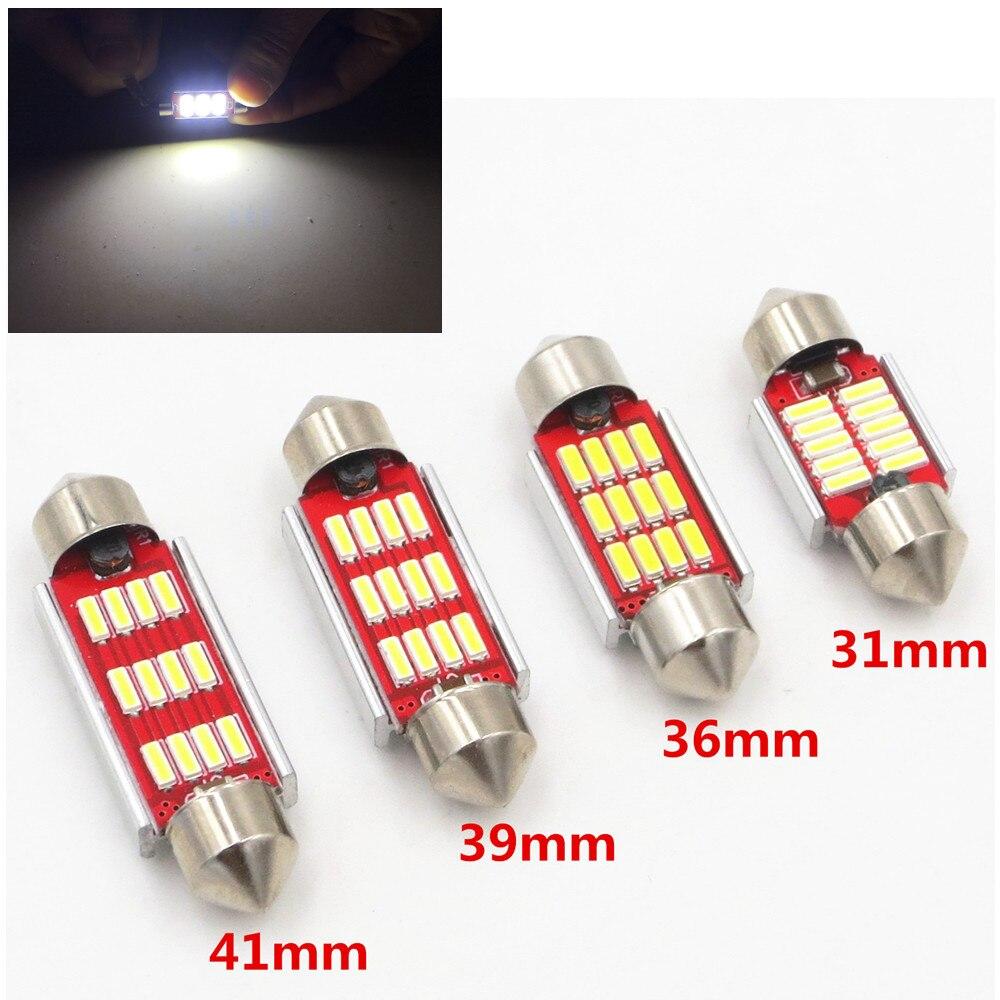 31 мм, 36 мм, 39 мм, 41 мм, C5W, C10W, CANBUS без ошибок, Φ SMD 4014, светодиодная лампа для салона автомобиля, лампа для чтения с белым светильник