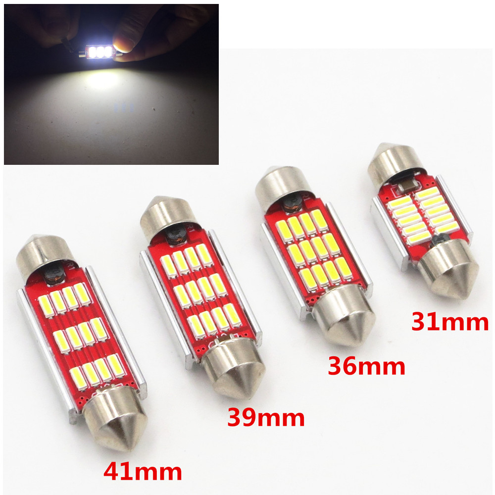 CYAN SOIL BAY 31mm 36mm 39mm 41mm C5W C10W CANBUS Error Free Auto Festoon SMD 4014 LED Car Interior Dome Lamp Reading Bulb White nao 2x c5w led c10w bulb car interior light festoon 31mm 36mm 39mm 41mm smd 3030 cob reading dome lamp 12v 24v 6000k white