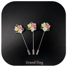 Garment Accessory Fancy Flower Lapel Pins Handmade Ceramic Brooch