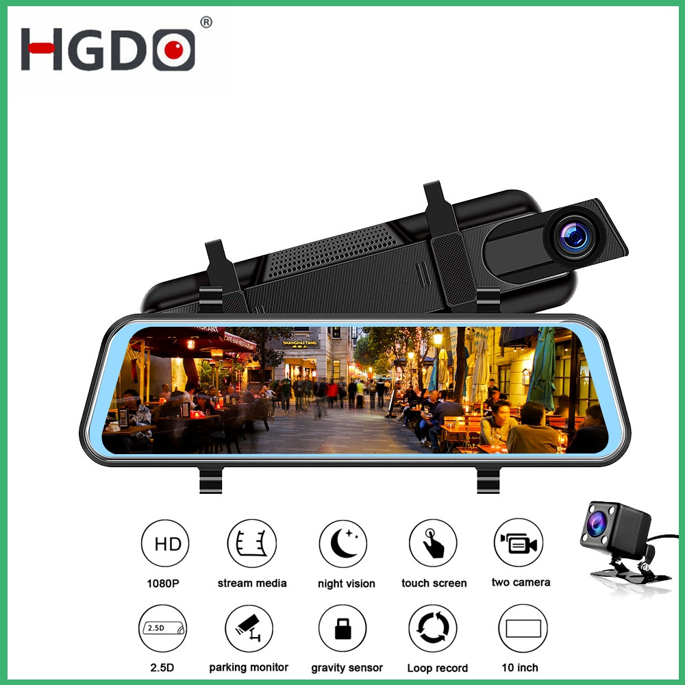 HGDO Car Dvr 10inch Camera Rearview-Mirror Video-Recorder Dash-Cam Touch-Screen Dual-Lens
