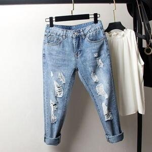 Image 3 - Vintage Boyfriend Jeans Per Le Donne A Vita Alta Allentato Strappato Jeans Femme Denim Pantaloni Stile Harem Streetwear Più Il Formato Mamma Jeans 4XL Q1413