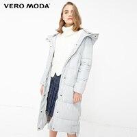 Vero Moda new detachable rabbit fur hooded long down jacket women   318312503 Down Coats    -