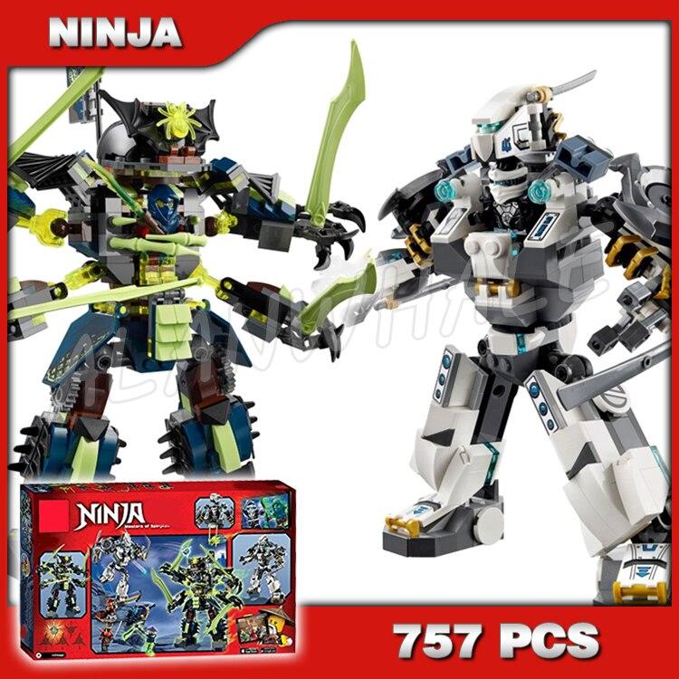 757 pces ninja titan mech batalha zane mech-enstein nya caverna 10399 modelo blocos de construção crianças brinquedos tijolos compatíveis com lego