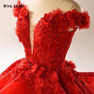 Image 5 - HIRE LNYER 2020 New Arrive Short Sleeve Beading Appliques Lace Flowers Princess Ball Gown Wedding Dresses Vestido de Noiva