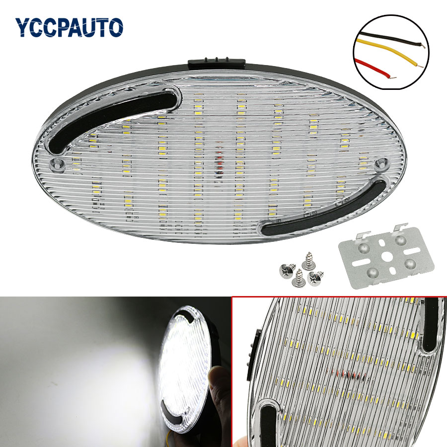 Pure White Ellipse Car LED Dome Roof Ceiling Interior Light Read Lamp On/Off Switch DC12V 1Pcs Universal Car 30 SMD 2x12v dc led ultrathin wardrobe under cabinet light pure white silver shell caravan rv interior lamp roof kitchen lighting