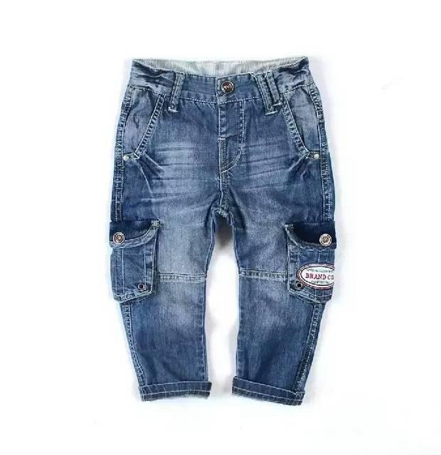 Nuevo 2016 Bebé Denim pantalones pantalones cargo pantalones vaqueros insignia niños pantalones vaqueros de Los Niños al por mayor