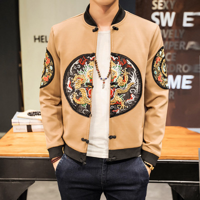 Autumn Men Chinese Dragon Embroidery Coats Slim Fit Bomber Jacket Classic Retro Jackets Hip Hop Outerwear Windbreaker A62704