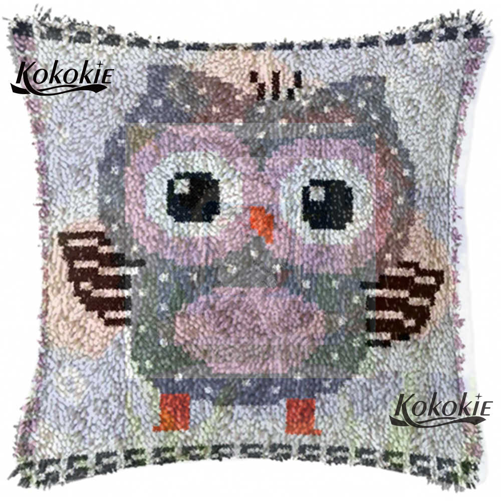 Handmade Unfinished Embroidery Pillowcase  Crocheting Kit Rug Yarn diy rug cartoon owl 3d carpet Latch hook rug making kit