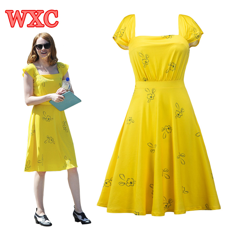 la la land movie yellow mia dress cosplay elegant vintage 1950s party dresses short sleeve. Black Bedroom Furniture Sets. Home Design Ideas