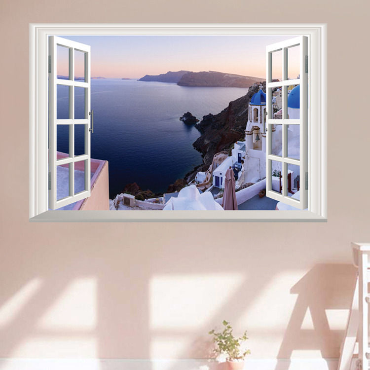 Beautiful bay 3d window view removable decal home decor for Bay view wall mural