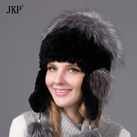 Autumn and winter hat ear warm hat Ms. Rex hair thicker knit hat rabbit fox fur hatTHY 34