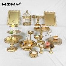 15Pcs Wedding Gold Pink White Decorating Tool Dessert Hanging Crystal Cake Stand