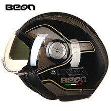 цена на BEON 216 Fashion Motorcycle Helmet Retro Helmet Double Lens Men's Helmet Half Helmet Motorbike Headgear Protection