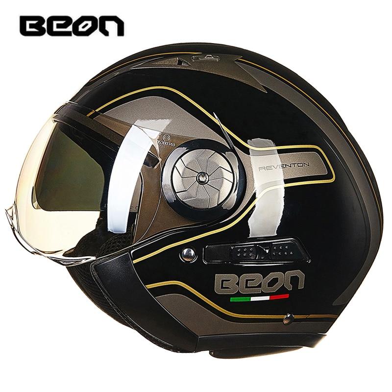 BEON 216 Fashion Motorcycle Helmet Retro Harley Helmet Double Lens Harley Mens Helmet Half Helmet Motorbike Headgear Protection
