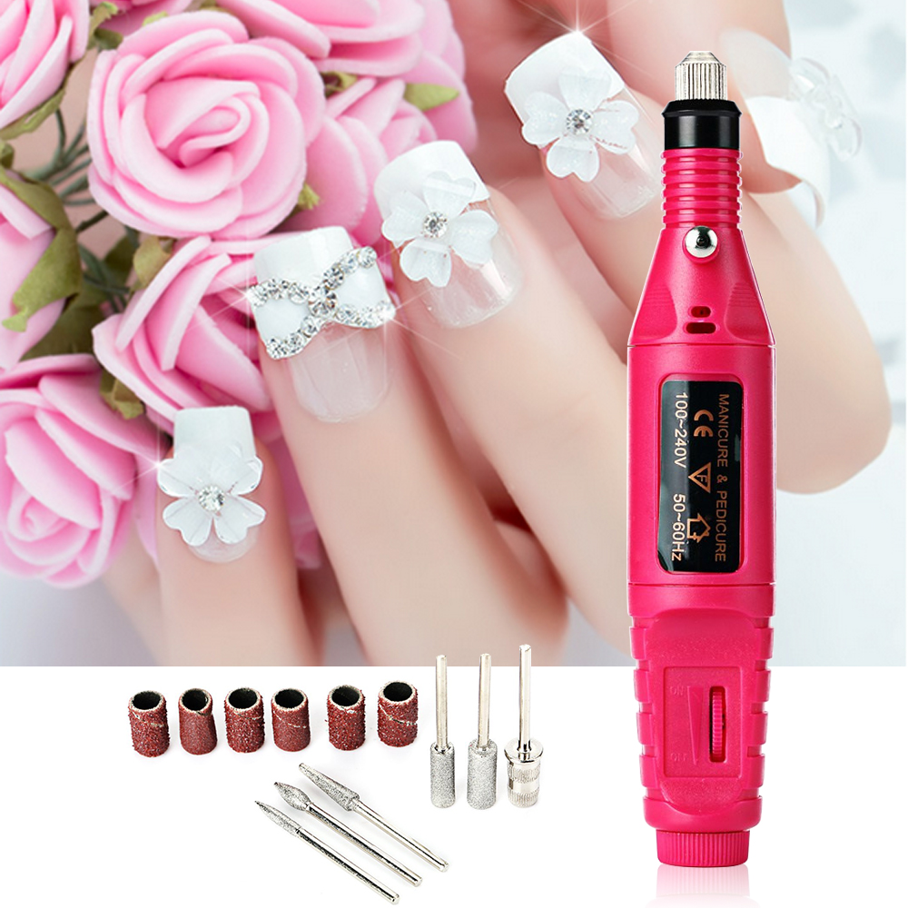 1Set 6bits Professional Gel Electric Manicure Machine Nail Drill Art Pen Nail Stamping Plates Pedicure File Shape Tool Feet Care professional pro 220v electric manicure machine set nail art file kit drill pen pedicure polish shape tool set yf2017