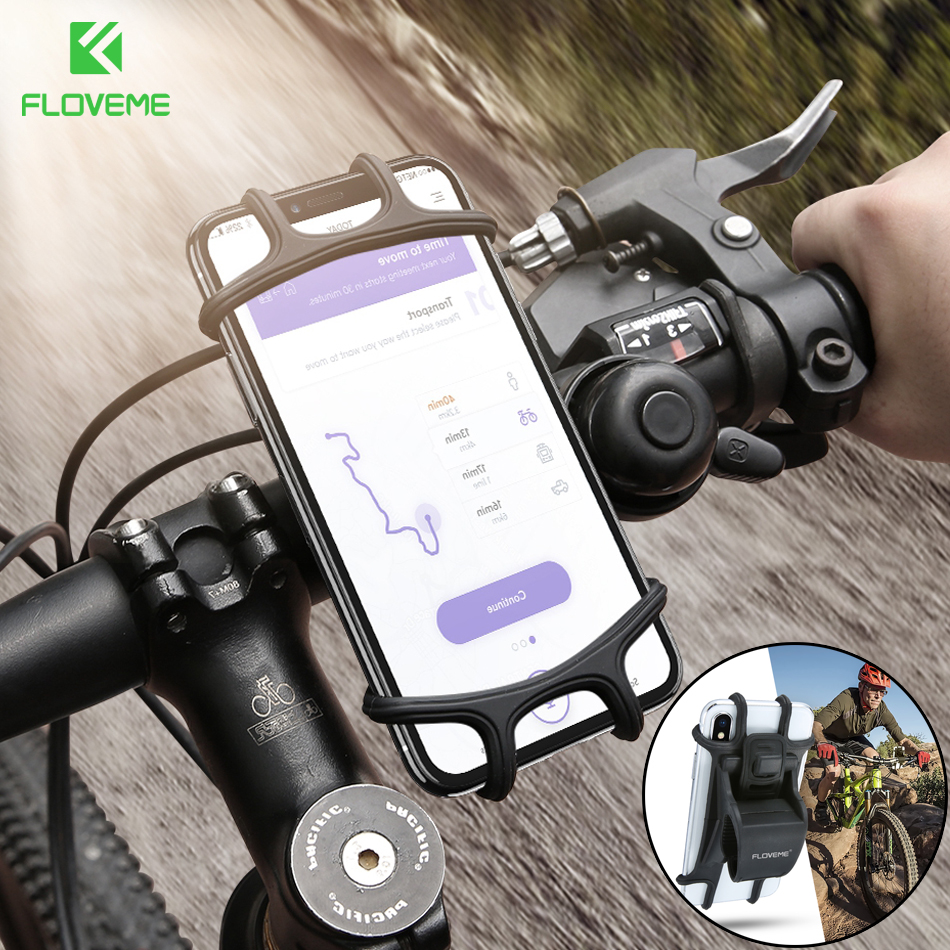 buy online 60dd1 ae223 US $3.99 20% OFF|FLOVEME Silicone Bicycle Phone Holder for iPhone 8 X  Samsung s9 Motorcycle Bike Mount Mobile Phone Holder for Phone for Xiaomi  -in ...