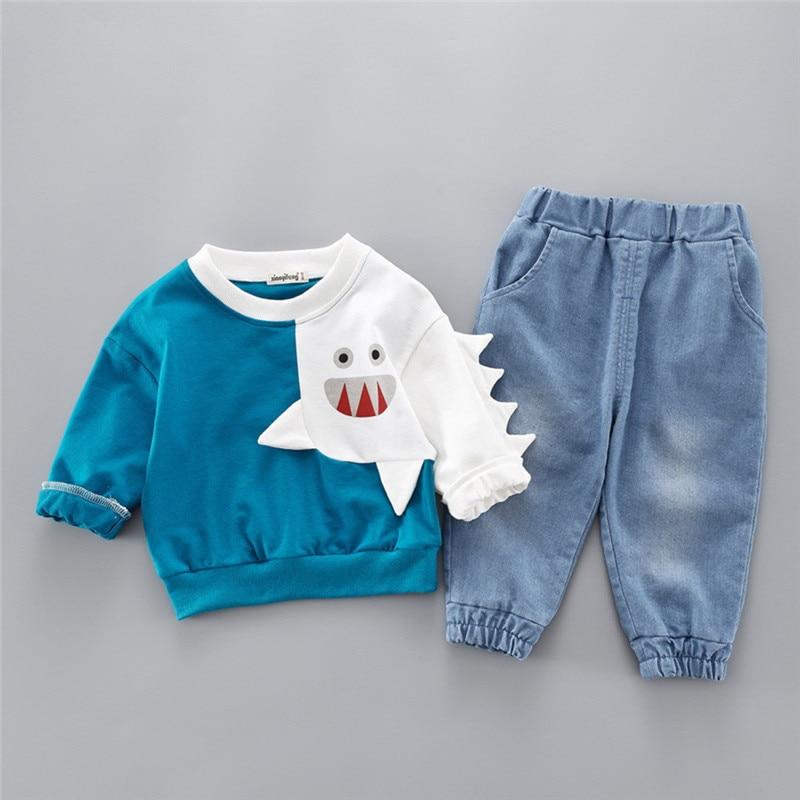 Boys clothes Child Kids Winter Boys Cartoon Shark Long Sleeve Tops Denim Pants Outfits Set #4j22 (21)
