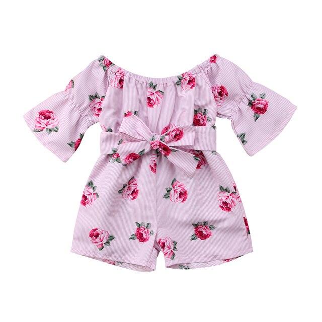 Одежда для малышей для девочек цветочные комбинезоны Детский спортивный костюм