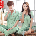 2016 NEW Luxury Couples Pajama Set Sunmmer Silk Short sleeve Pyjamas Love Sleepwear Men And Women Lace Satin Lounge Pajamas