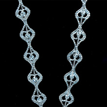 10Yards 2.3cm Crystal Rhinestone Chain Trim Sewing For Clothing with Beads