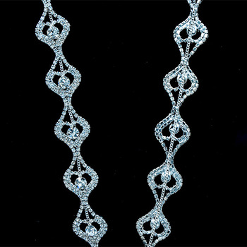 10Yards 2.3cm Crystal Rhinestone Chain Trim Sewing For Clothing Chain with Crystal Beads