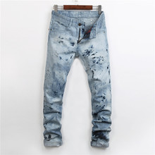 Hot Sale Winter Men Elastic Jeans Printed Jeans Famou Brand Jeans High Quality Designer Blue Skinny Jeans