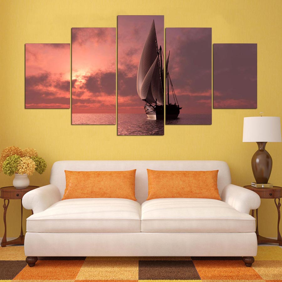 5 panel painting HD printed painting sailing ship sailing on the sea ...