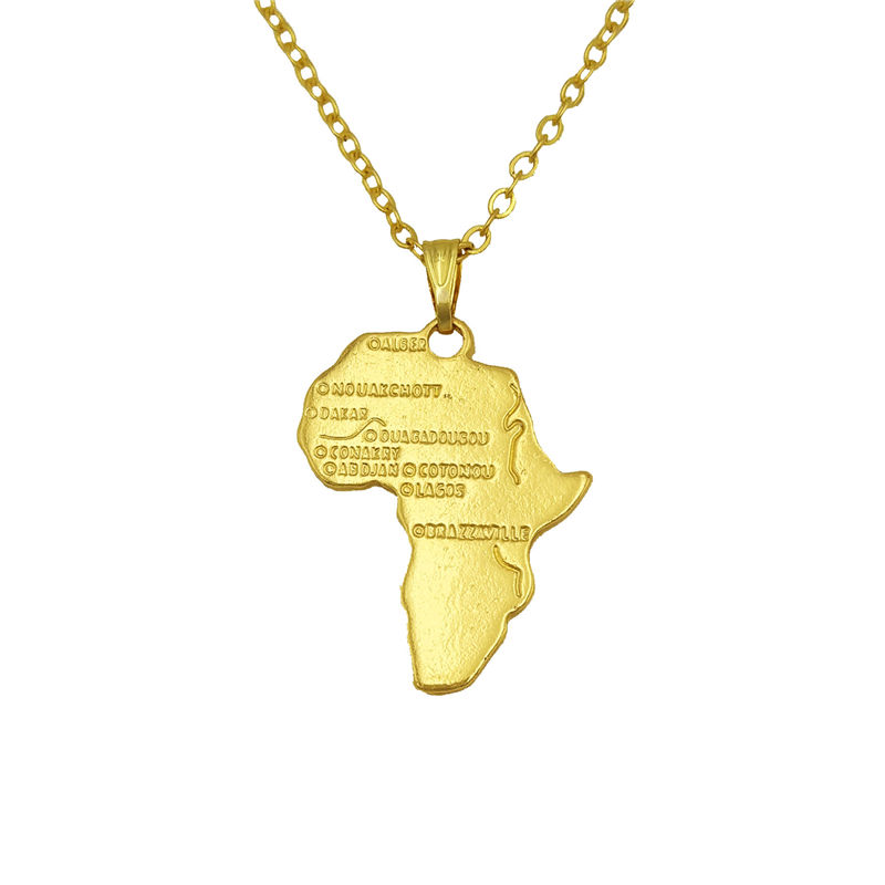 Drop ship Africa Necklace Wanderlust Stocking Stuffer Elder Missionary Map pendants choker necklace gift silver gold color real gold africa necklace