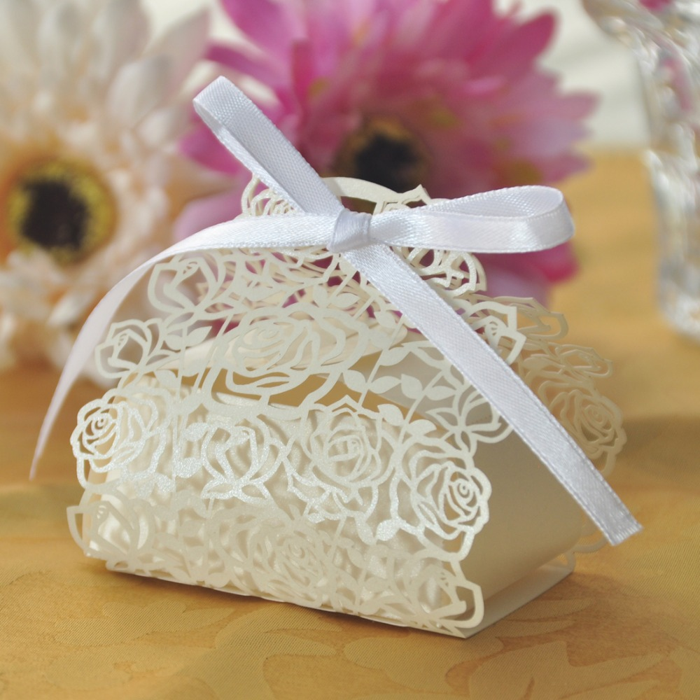 Free Shipping 60pcs Laser Cut Rose Bride and Groom Candy Gift Box ...