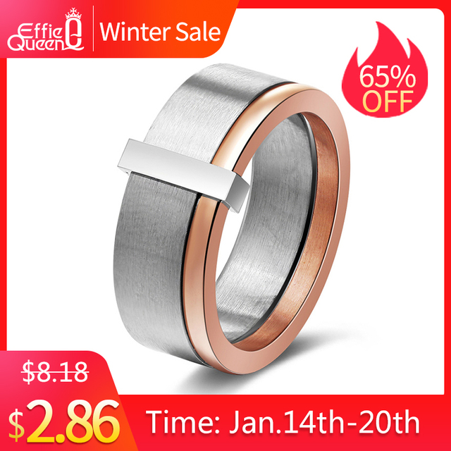 Effie Queen Women's 316L Stainless Steel Ring Unique Rose Gold Silver Mix Color