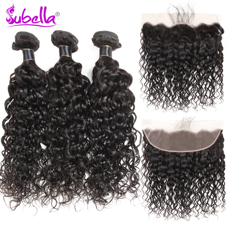 Subella Indian Water Wave 4 Bundles With Frontal Human Hair bundles with Closure 13x4 Nonremy Hair Weave Bundles