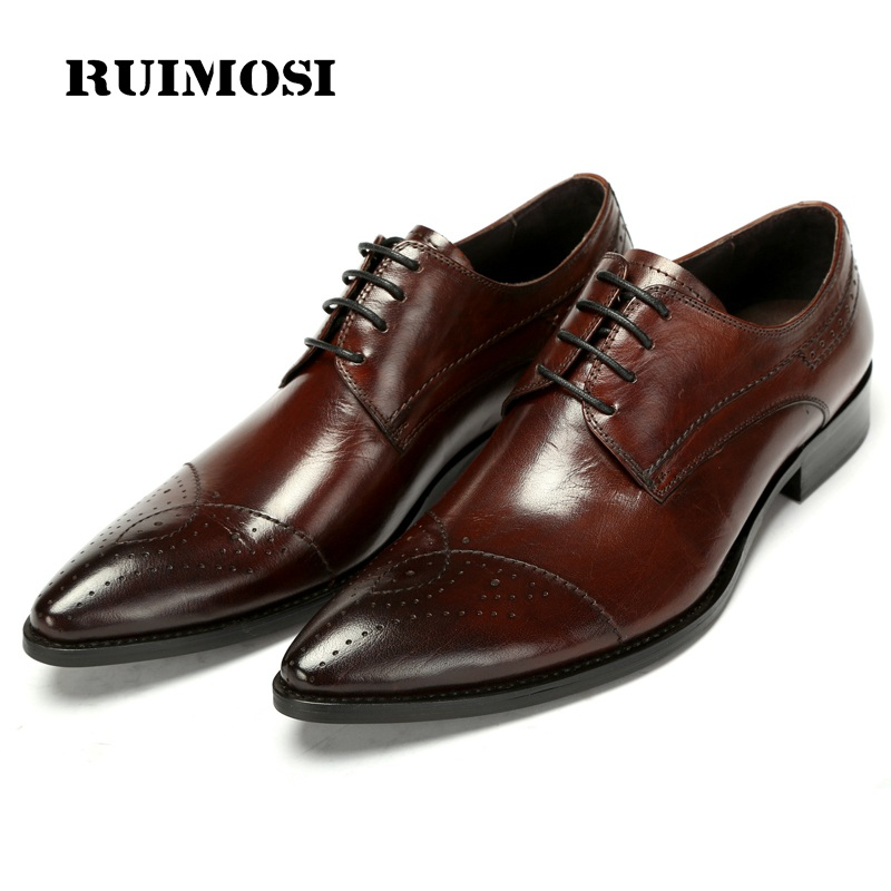 RUIMOSI Luxury Brand Cap Top Man Formal Dress Shoes Genuine Leather Male Oxfords Italian Designer Men's Derby Bridal Flats GK89 fashion top brand italian designer mens wedding shoes men polish patent leather luxury dress shoes man flats for business 2016